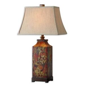 Colorful Flowers - 1 Light Table Lamp