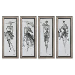 Fashion Sketchbook - 39.75 inch Wall Art (Set of 4) - 15.75 inches wide by 1.5 inches deep
