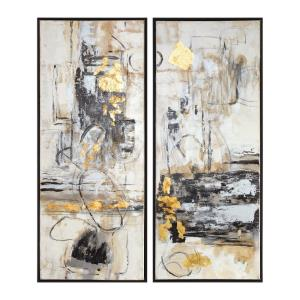 Life Scenes - 51 inch Abstract Art (Set of 2) - 21 inches wide by 2.5 inches deep